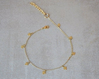 Three-leaf clover anklet,Charm anklet, Layering anklet, Gold filled Foot Jewelry, Ankle bracelet, Good luck jewelry