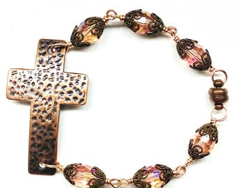 Hammered Copper Cross Bracelet,Magnetic Closure,Pink Champagne Aurora Borealis Crystal Beads,Filigree Bead Caps,Christian,Faith,Boho Jewelry