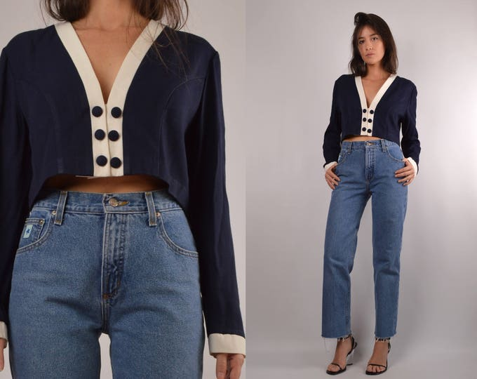 Vintage Nautical V-neck Long Sleeve Crop Top