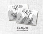 Adventure Mountain Baby Shower Books, Printable, Book Request Card, Insert, Bring a Book, Stock The Library, Instant Download, Gray, Black