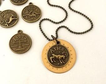 Zodiac Sign necklace,  Zodiac Symbol, Vintage Necklace, zodiac jewelry, ASTROLOGY SIGNS, pick your own,