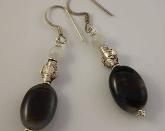 Sardonyx agate and silver, mother of pearl earrings