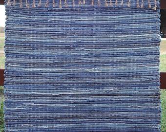 "Hand Woven Rag Rug - Medium Blue Denim 28"" x 56"""