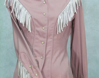 1950s Western Shirt Vintage Cowboy Leather Fringe Ranch Maid Westernwear Small