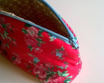 Red Floral Cotton Make Up Bag with polka dot lining