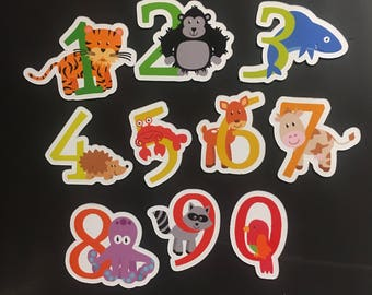 Animal Number Magnets - Preschool learning numbers Set - colorful magnets