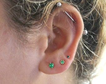 Emerald Studs - Emerald Stud Earring Set - 2mm 3mm 4mm Set of 3 Lab Created Emerald Studs - May Birthstone - Green Studs -  Gift for Her