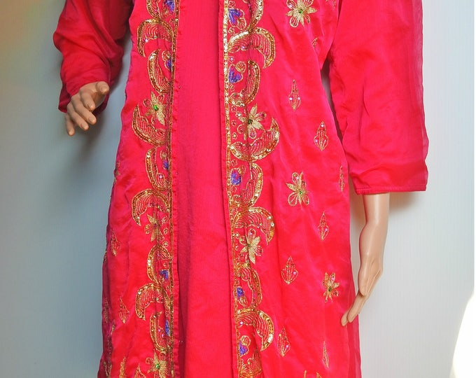 FUSHIA PINK KURTA shirt women indian  women vintage longsleeves kurta top embroidered  boho chic top hippie clothes skirt M L