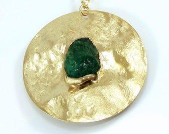 Raw Emerald Necklace, May Birthstone, Emerald Gold Pendant Necklace, green necklace, Gemstone Necklace, Statement Necklace, Long Necklace.