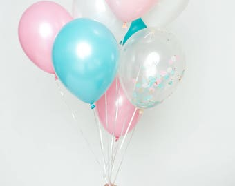 Confetti Balloon Set - Oh Baby! - Pastel Pink, Light Aqua, White and Clear Confetti Ballon Bouquet - Gender Reveal Balloons
