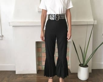 HANDMADE MISHA GILL High Waisted Cropped Pleated Flair Hem Trousers