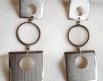 Vintage 70's Mod Silver Toned Dangling Pierced Earrings