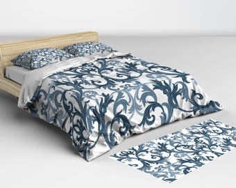 Bedspread, Navy and White Damask, Duvet Cover, and Comforter Available in Twin Full Queen and King Sizes Matching Pillow Shams Available