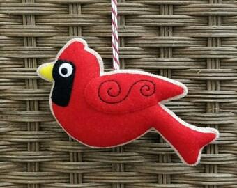 Felt cardinal Christmas ornament
