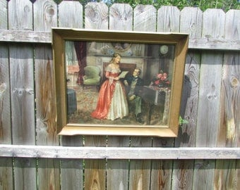 Vintage Framed & Signed Large Lithograph of Well To Do Young Woman and Gentleman. Nice
