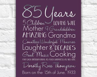 Birthday Gift for Grandma, Choose ANY Year, 85th Birthday Gifts, 80 Years Old, Gift for Mother, Grandmother, Great Grandma, Born 1930s WF604