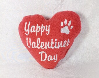 Valentine Dog Toy with Squeaker, Squeaky Dog Toy Made in US, Yappy Valentine's Day, Paw Print, Plush Squeaker Dog Toys, Dog Valentine Gift