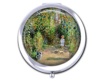 Monet pocket mirror impressionist painting compact mirror Claude Monet French art teacher gift bridesmaid gift for girlfriend.