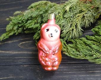 Pink Teddy Bear Glass Christmas Ornament Soviet Pink Blown Glass Bear Woodland fairy tale figurine Xmas gift for mom Christmas decorations