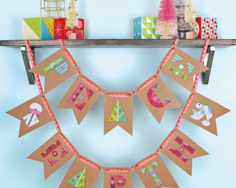 Peace on Earth - Satsuma Street Christmas bunting - modern cross stitch pattern PDF - Instant download
