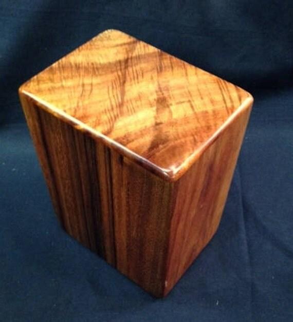"Large Curly Hawaiian Koa Wooden Memorial Cremation Urn... 7""wide x 5""deep x 9""high Wood Adult Cremation Urn LK081017A"
