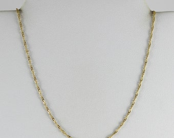 18K Yellow Gold Twist Chain Necklace 16 1/2 inch 1.5 mm