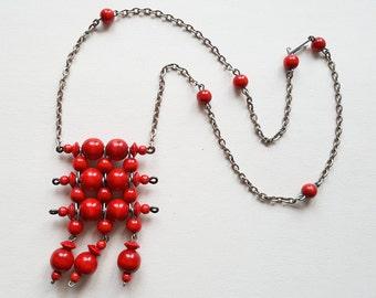 Ibero, Bright Red Bead Necklace, Finland, 1970s (F1184)