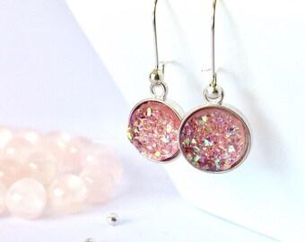 Pink Druzy Earrings, Pink Drop Earrings, Pink Jewelry, Druzy Jewelry, Bridesmaid Gift, Gemstone Earrings, Boho Jewelry, Summer Earrings