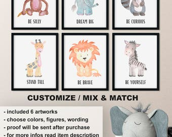 Watercolor baby animal nursery, Stand tall giraffe baby room art, Watercolor Nursery animal prints, Stay curious kids wall art Print/Canvas