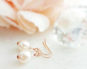 Rose Gold Pearl Earrings ~ Swarovski Pearl Drop Earrings ~ Crystal Pearl Earrings Wedding ~ Bridesmaid Pearl Jewelry ~ Cream Pearls E4400
