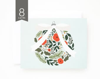 Christmas Card Set of 8 | Illustrated Holiday Card Set, Illustrated Christmas Cards with Floral Ornament