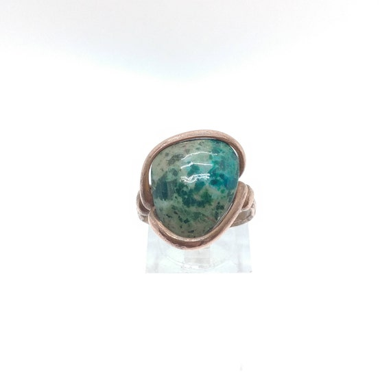 Chrysocolla Ring | Large Stone Copper Ring Sz 7.5 | Rustic Stone Ring | Blue Green Stone | Azurite Malachite Ring | Handmade Gift for Her