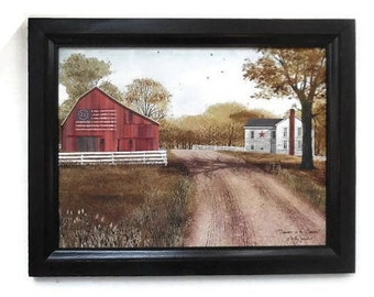 Summer in the Country,  Billy Jacobs, Flag Barn Picture, Primtiive Home Decor, Wall Hanging, Handmade, 15X19, Custom Wood Frame, Made in USA