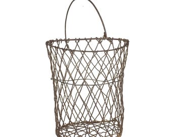 Antique Wire Basket Primitive 1900s Metal Mesh Basket Antique Metal Wire Basket