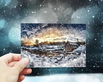 Christmas card printable, Christmas greeting card download, digital Christmas card, snow landscape #1, 4x6 Holiday printable card