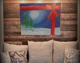 Winter Gift Painted Scene on 16x20 quality canvas