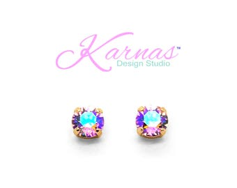LIGHT ROSE GLACIER 8mm Stud or Drop Leverback Earrings Made With Swarovski Crystal *Pick Your Finish *Karnas Design Studio *Free Shipping