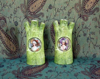 "Two (2) Antique/Vintage Vases ~ German/Germany ~ 8"" tall ~ Hand-painted ~ Tree Trunk ~ Finger Vases ~ Portrait Vase ~ Victorian"