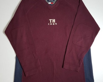 Vintage 1990s Tommy Hilfiger Long Sleeve Sweater / Maroon Tommy Hilfiger TH 1985 Sweat Shirt 1990s Retro Throwback Hip Hop FREE SHIPPING