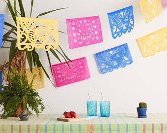 Bunting for Hen-dos and Fiestas, Bachelorette Bridal Shower, Mexican Bunting, Paper Garland for Parties - Papel Picado Banner, Mexican Party