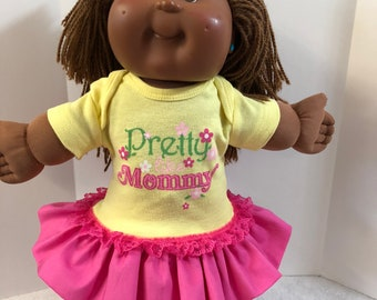 """Cabbage Patch 16 inch Doll Clothes, FLOWERS """"Pretty Like MOMMY"""" Ruffle & Lace Trim Dress, 16 inch Cabbage Patch, Fits 15 inch Bitty Baby"""