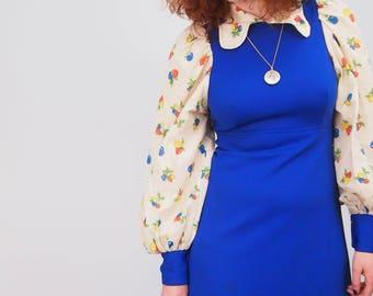 VINTAGE 1970S DRESS - Maxi Dress - Vintage Dress - Flared Sleeves - Electric Blue Dress - Fruit Print - Printed Cotton - 70s Dress