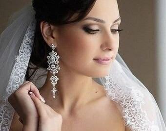 ARIANA Chandelier Vintage Crystal Bridal Earrings Long Victorian Style Earrings Wedding Jewelry drop wedding Earrings