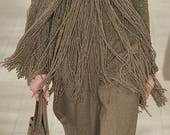 Circular poncho scarf with long fringes and bottons,gift ideas, handmade item, winter clothing,warm dressing,wool,