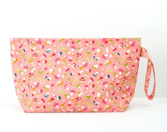 Mushroom medium wide project bag with snaps, pink straight knitting needle project bag, 3 skein craft storage