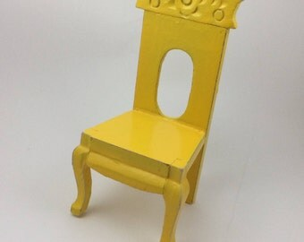 Vintage Wooden Chair Yellow Doll House Folk Flowers Furniture Miniature
