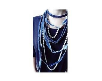 Jeans Necklace / Textile jewelry / Denim Necklace / Denim Jewelry / Reused Jeans Necklace / Blue Jeans Necklace / Recycled Jeans Necklace