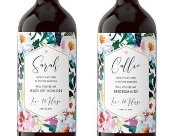 Will you be my Bridesmaid Custom Wine Label Set / Maid of Honor Gift / Bridesmaid Proposal Idea / Floral Bridal Party Gift