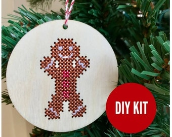 Christmas ornament gingerbread man - easy DIY wood cross stitch kit - beginners cross stitch kits - 2017 holiday by Canadian Stitchery