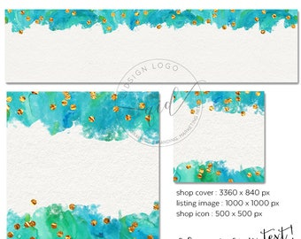 DIY Etsy Shop Set, Blank Etsy Shop Cover, Premade Etsy Banner, Add your own text, New etsy banner, Make up shop set, Jewelery shop branding